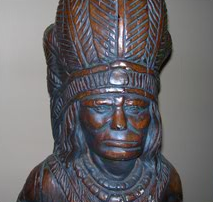 Statue of native american chief at Meduros